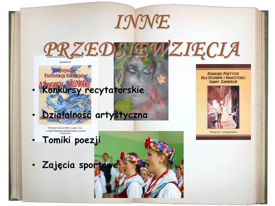 Konkursy recytatorskie Działalność artystyczna Tomiki poezji Zajęcia sportowe INNE PRZEDSIĘWZIĘCIA