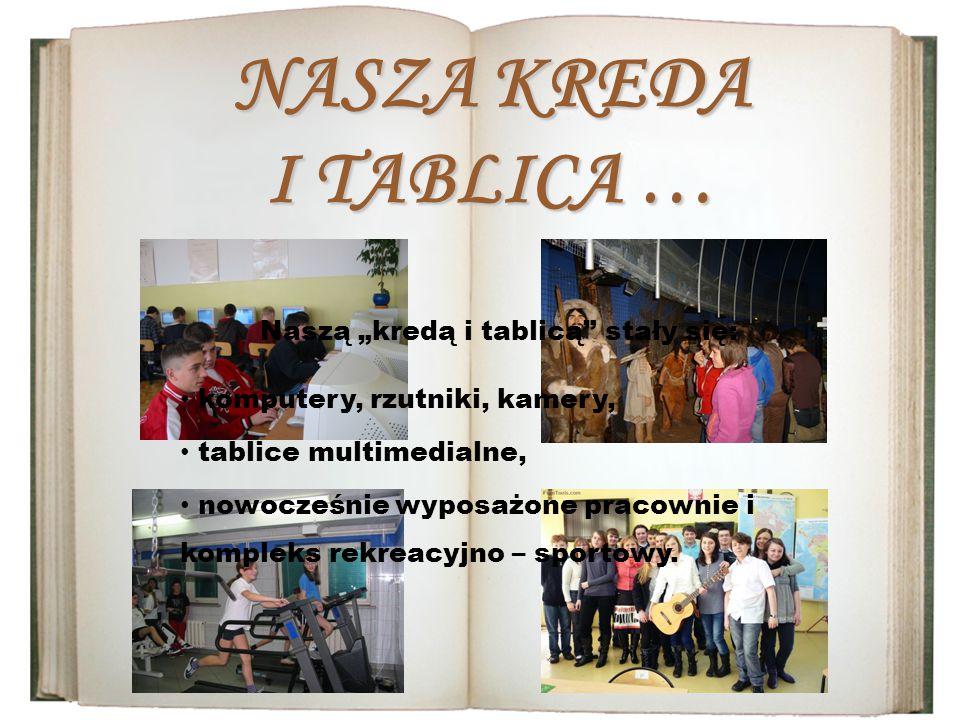 """NASZA KREDA I TABLICA … Naszą """"kredą i tablicą stały się: tablice multimedialne, nowocześnie wyposażone pracownie i kompleks rekreacyjno – sportowy."""