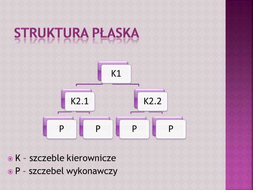  K – szczeble kierownicze  P – szczebel wykonawczy K1K2.1PPK2.2PP