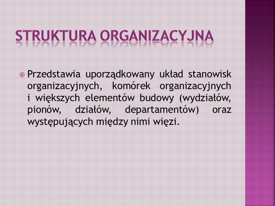  Przedstawia uporządkowany układ stanowisk organizacyjnych, komórek organizacyjnych i większych elementów budowy (wydziałów, pionów, działów, departamentów) oraz występujących między nimi więzi.