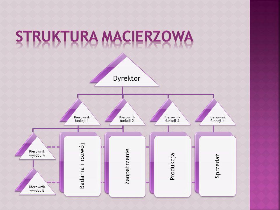 Dyrektor Kierownik wyrobu A Kierownik wyrobu B Kierownik funkcji 1 Badania i rozwój Kierownik funkcji 2 Zaopatrzenie Kierownik funkcji 3 Produkcja Kie