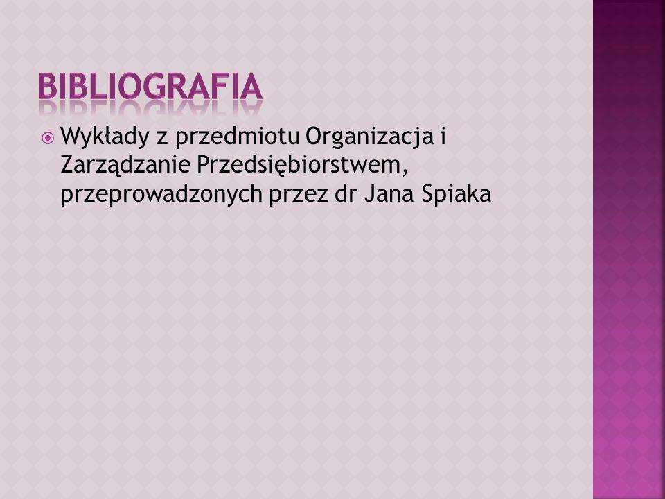  Wykłady z przedmiotu Organizacja i Zarządzanie Przedsiębiorstwem, przeprowadzonych przez dr Jana Spiaka