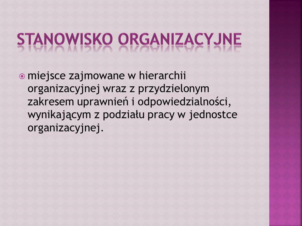  miejsce zajmowane w hierarchii organizacyjnej wraz z przydzielonym zakresem uprawnień i odpowiedzialności, wynikającym z podziału pracy w jednostce organizacyjnej.