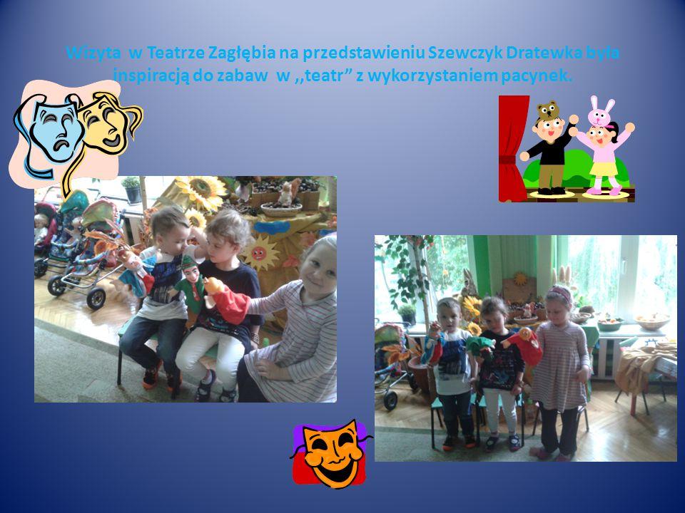 """Wizyta w Teatrze Zagłębia na przedstawieniu Szewczyk Dratewka była inspiracją do zabaw w,,teatr"""" z wykorzystaniem pacynek."""