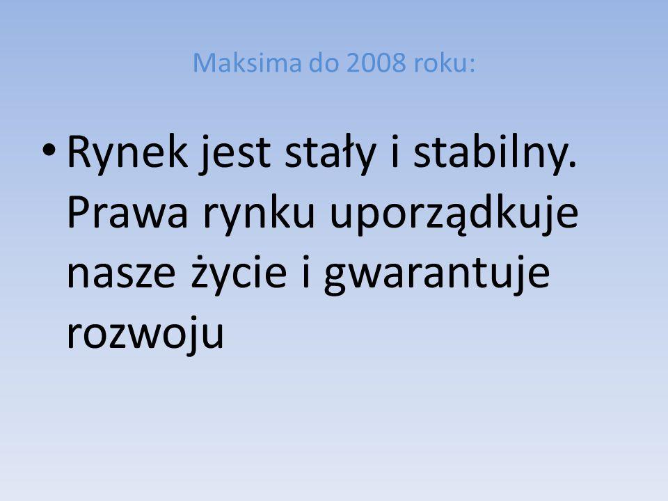 Maksima do 2008 roku: Rynek jest stały i stabilny. Prawa rynku uporządkuje nasze życie i gwarantuje rozwoju