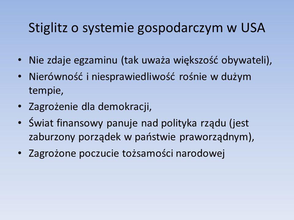 Stiglitz o systemie gospodarczym w USA Nie zdaje egzaminu (tak uważa większość obywateli), Nierówność i niesprawiedliwość rośnie w dużym tempie, Zagrożenie dla demokracji, Świat finansowy panuje nad polityka rządu (jest zaburzony porządek w państwie praworządnym), Zagrożone poczucie tożsamości narodowej