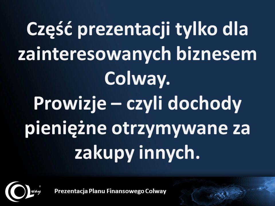 Część prezentacji tylko dla zainteresowanych biznesem Colway. Prowizje – czyli dochody pieniężne otrzymywane za zakupy innych. Prezentacja Planu Finan