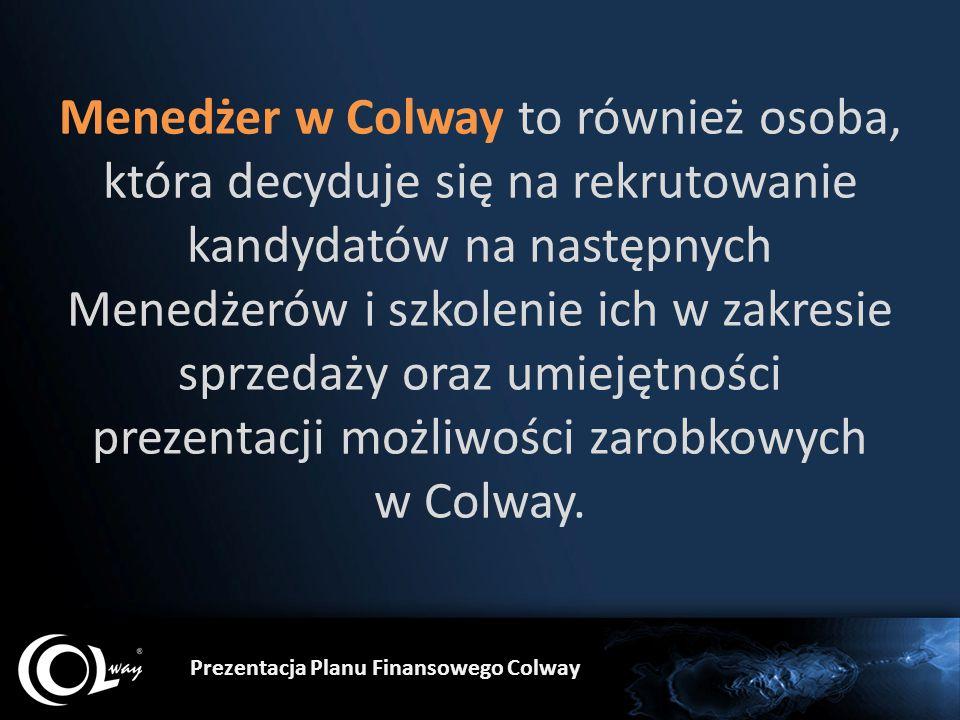 Prezentacja Planu Finansowego Colway Menedżer w Colway to również osoba, która decyduje się na rekrutowanie kandydatów na następnych Menedżerów i szkolenie ich w zakresie sprzedaży oraz umiejętności prezentacji możliwości zarobkowych w Colway.
