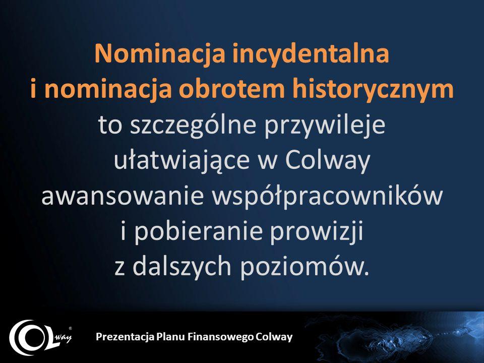 Nominacja incydentalna i nominacja obrotem historycznym to szczególne przywileje ułatwiające w Colway awansowanie współpracowników i pobieranie prowiz