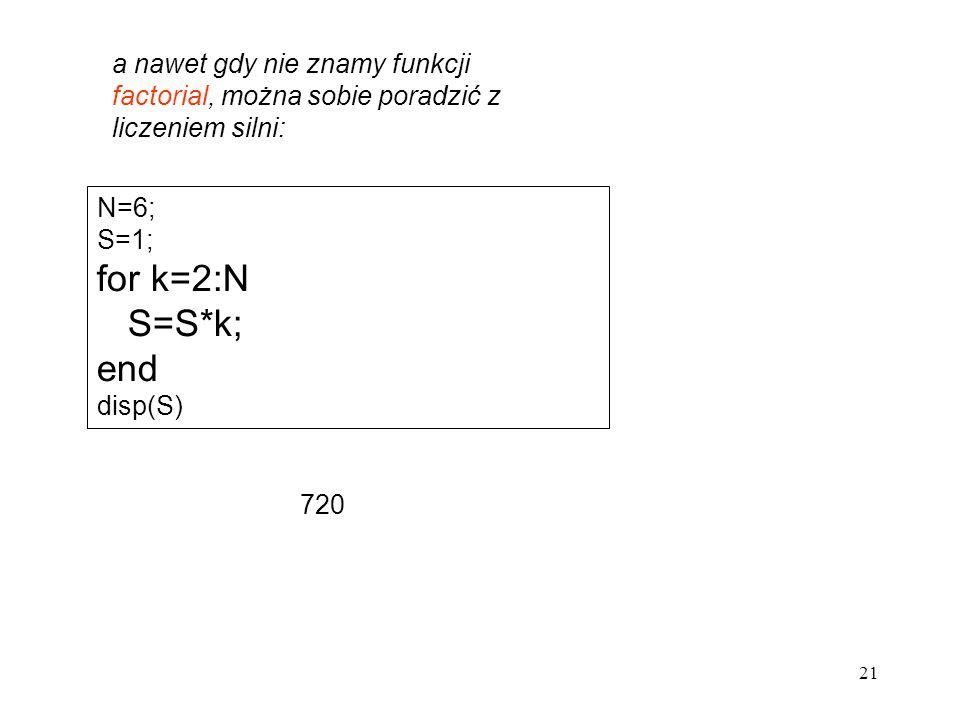 21 a nawet gdy nie znamy funkcji factorial, można sobie poradzić z liczeniem silni: N=6; S=1; for k=2:N S=S*k; end disp(S) 720