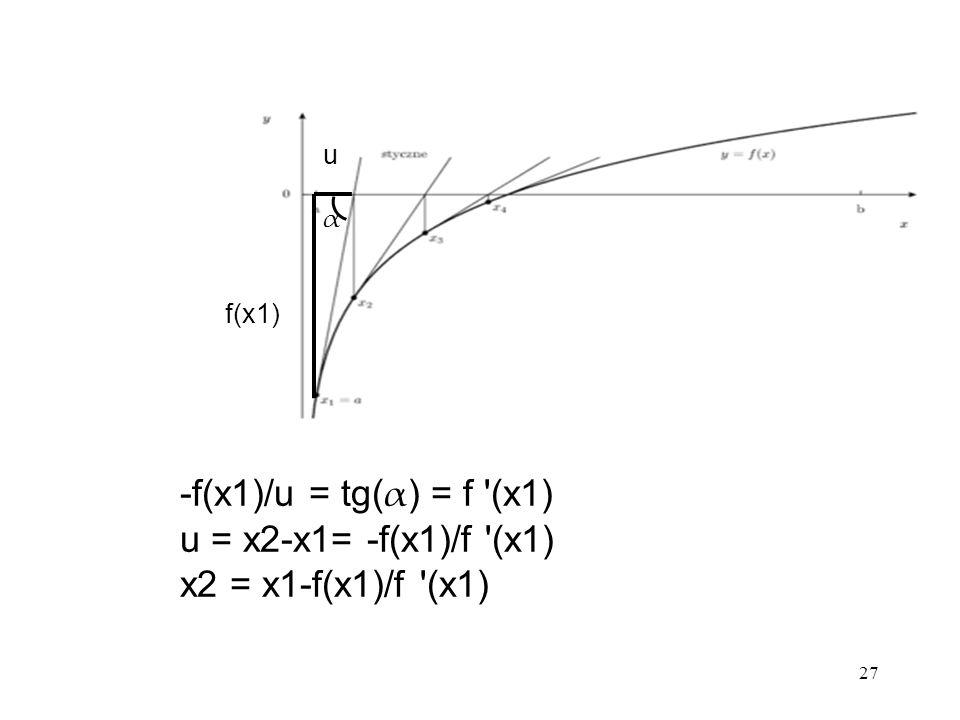 27 f(x1) u -f(x1)/u = tg( α ) = f '(x1) u = x2-x1= -f(x1)/f '(x1) x2 = x1-f(x1)/f '(x1) α
