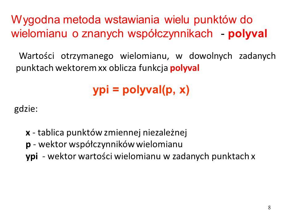 8 gdzie: x - tablica punktów zmiennej niezależnej p - wektor współczynników wielomianu ypi - wektor wartości wielomianu w zadanych punktach x Wygodna