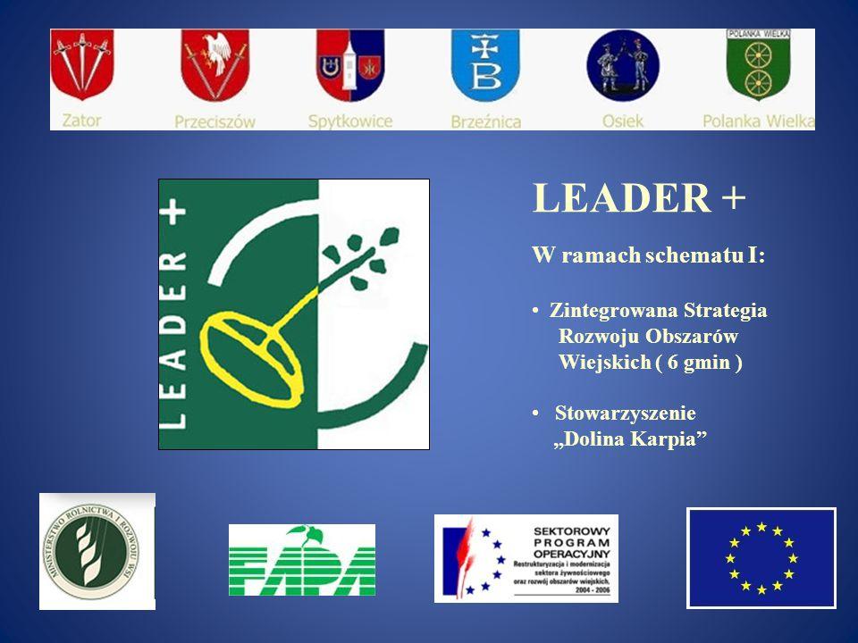 """LEADER + W ramach schematu I: Zintegrowana Strategia Rozwoju Obszarów Wiejskich ( 6 gmin ) Stowarzyszenie """"Dolina Karpia"""