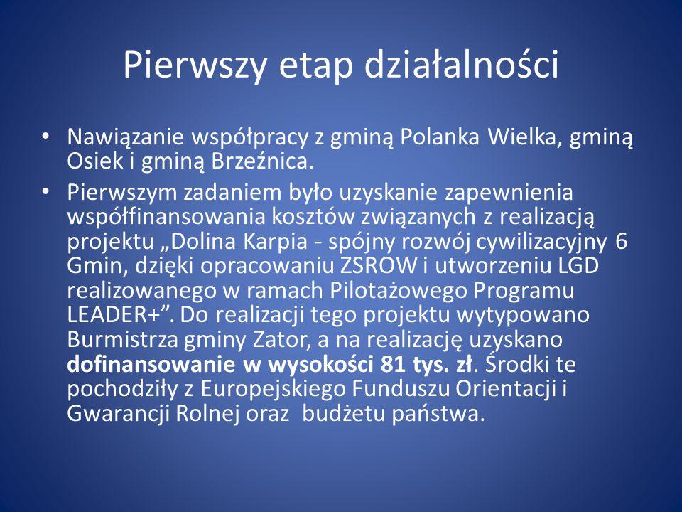Pierwszy etap działalności Nawiązanie współpracy z gminą Polanka Wielka, gminą Osiek i gminą Brzeźnica. Pierwszym zadaniem było uzyskanie zapewnienia