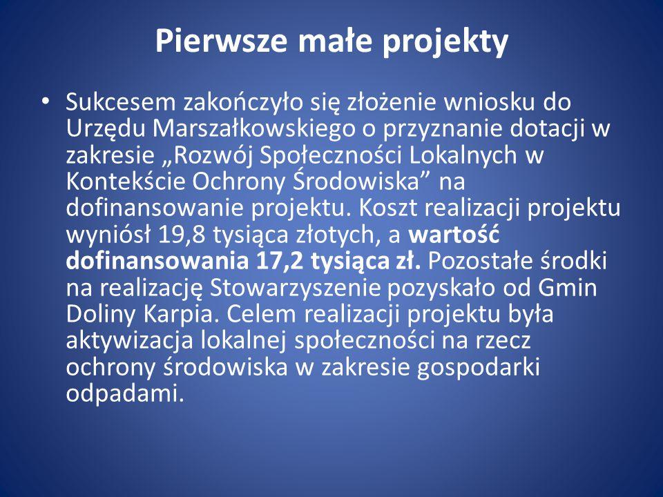 """Pierwsze małe projekty Sukcesem zakończyło się złożenie wniosku do Urzędu Marszałkowskiego o przyznanie dotacji w zakresie """"Rozwój Społeczności Lokaln"""