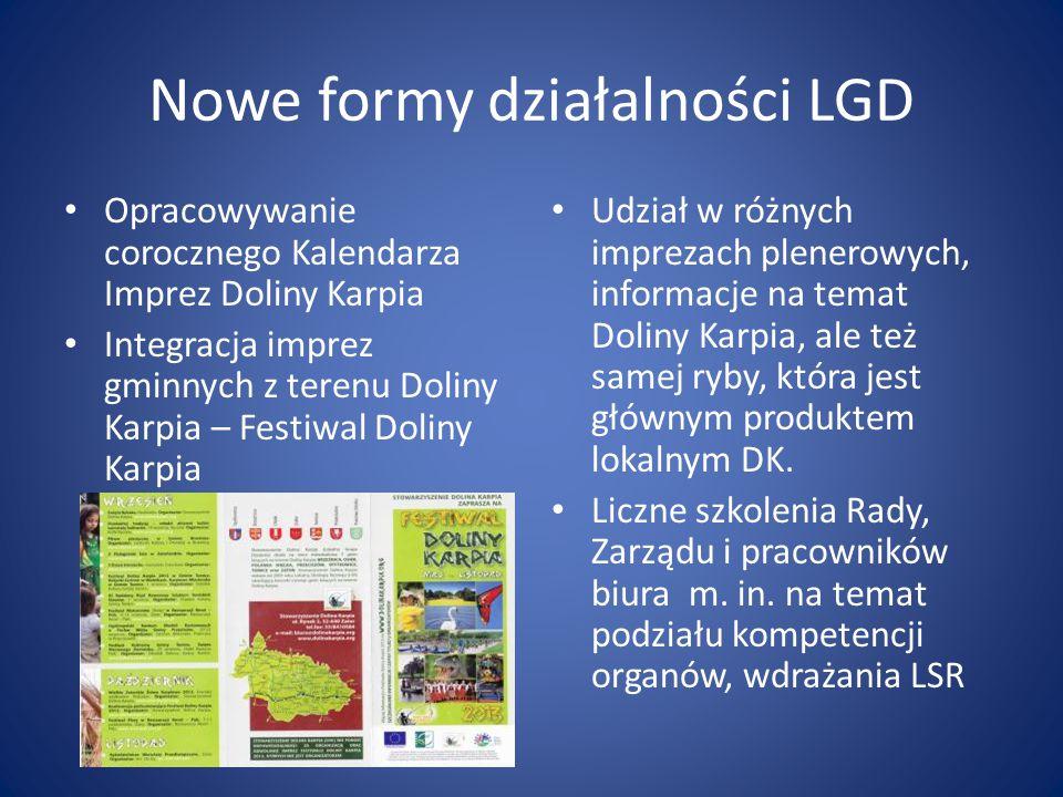 Nowe formy działalności LGD Opracowywanie corocznego Kalendarza Imprez Doliny Karpia Integracja imprez gminnych z terenu Doliny Karpia – Festiwal Doli
