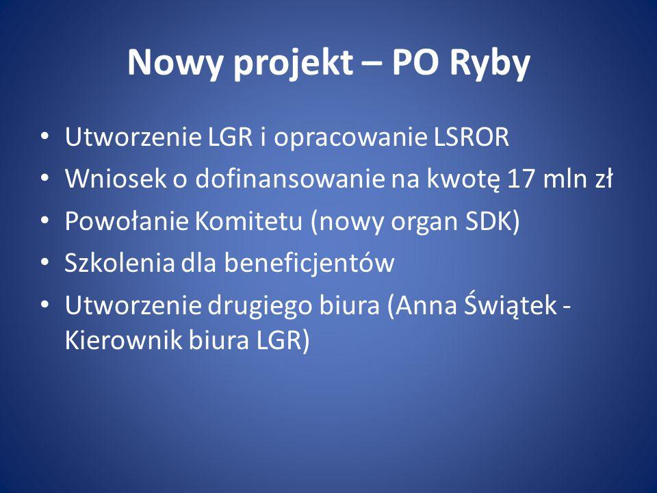 Nowy projekt – PO Ryby Utworzenie LGR i opracowanie LSROR Wniosek o dofinansowanie na kwotę 17 mln zł Powołanie Komitetu (nowy organ SDK) Szkolenia dla beneficjentów Utworzenie drugiego biura (Anna Świątek - Kierownik biura LGR)