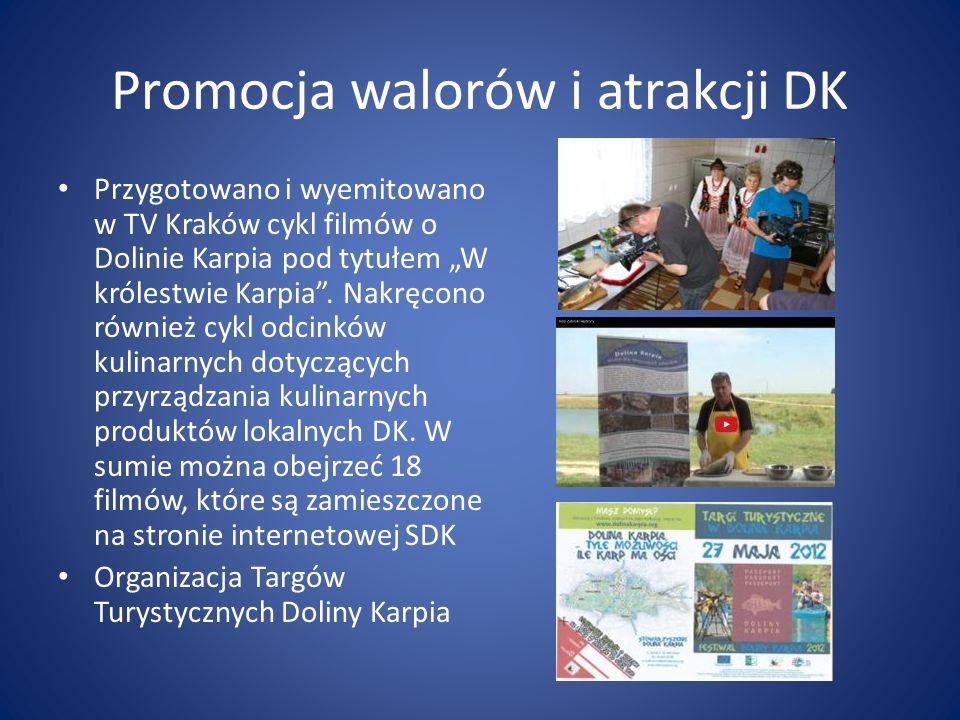 """Promocja walorów i atrakcji DK Przygotowano i wyemitowano w TV Kraków cykl filmów o Dolinie Karpia pod tytułem """"W królestwie Karpia ."""