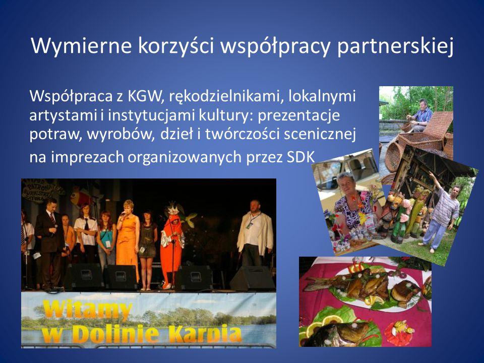 Wymierne korzyści współpracy partnerskiej Współpraca z KGW, rękodzielnikami, lokalnymi artystami i instytucjami kultury: prezentacje potraw, wyrobów, dzieł i twórczości scenicznej na imprezach organizowanych przez SDK