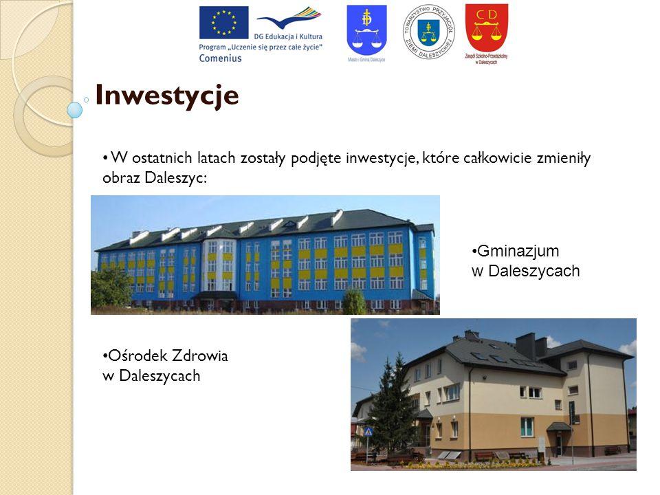 Inwestycje W ostatnich latach zostały podjęte inwestycje, które całkowicie zmieniły obraz Daleszyc: Ośrodek Zdrowia w Daleszycach Gminazjum w Daleszyc