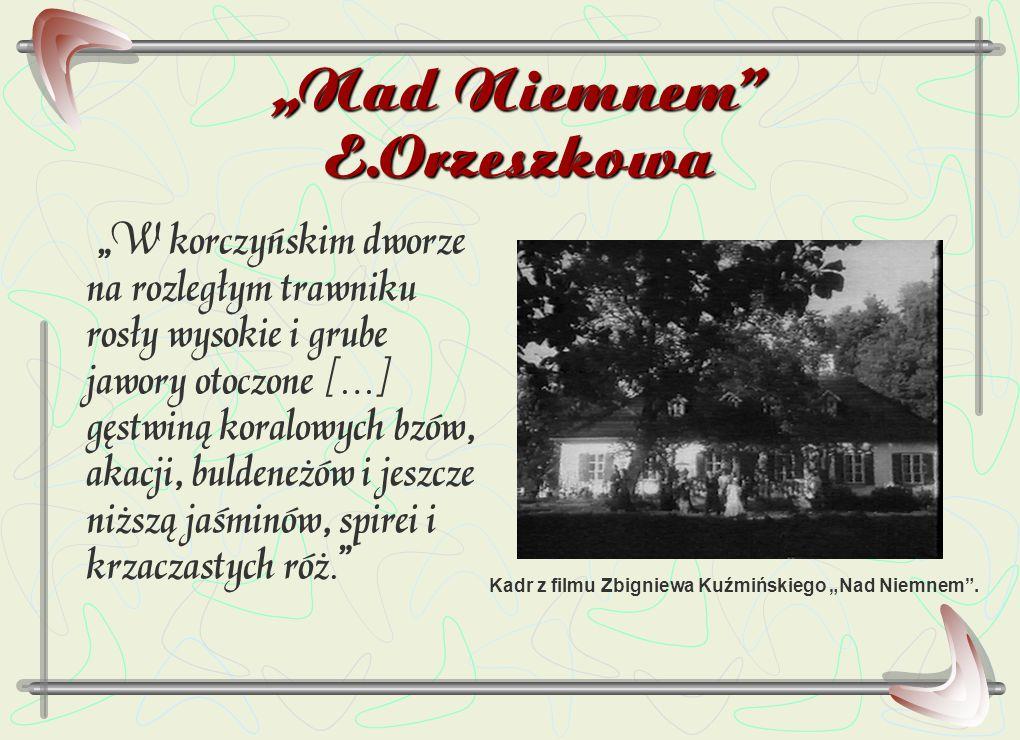 """""""Nad Niemnem"""" E.Orzeszkowa """"W korczyńskim dworze na rozległym trawniku rosły wysokie i grube jawory otoczone […] gęstwiną koralowych bzów, akacji, bul"""