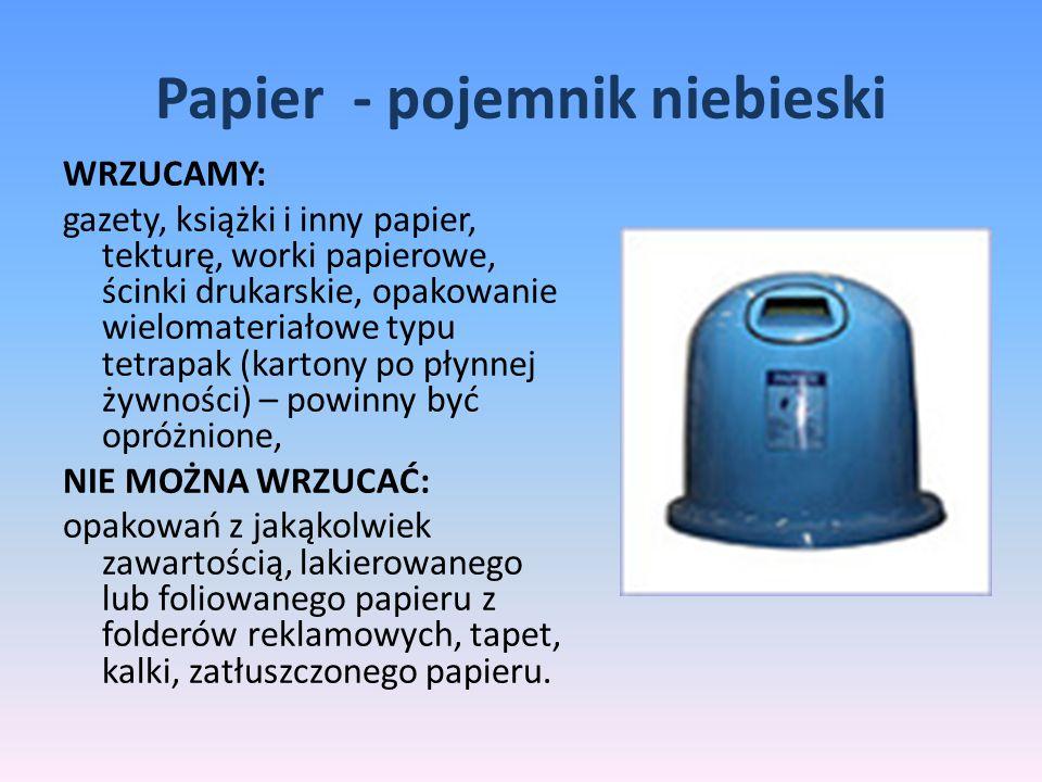 Papier - pojemnik niebieski WRZUCAMY: gazety, książki i inny papier, tekturę, worki papierowe, ścinki drukarskie, opakowanie wielomateriałowe typu tet