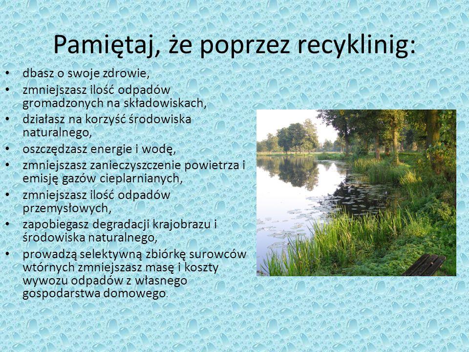 Pamiętaj, że poprzez recyklinig: dbasz o swoje zdrowie, zmniejszasz ilość odpadów gromadzonych na składowiskach, działasz na korzyść środowiska natura