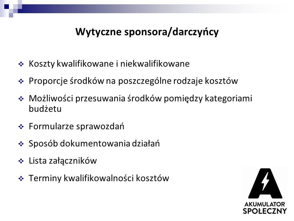 Wytyczne sponsora/darczyńcy  Koszty kwalifikowane i niekwalifikowane  Proporcje środków na poszczególne rodzaje kosztów  Możliwości przesuwania śro