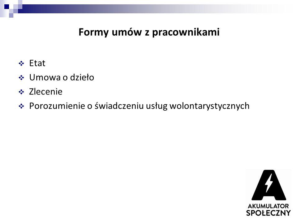 Formy umów z pracownikami  Etat  Umowa o dzieło  Zlecenie  Porozumienie o świadczeniu usług wolontarystycznych