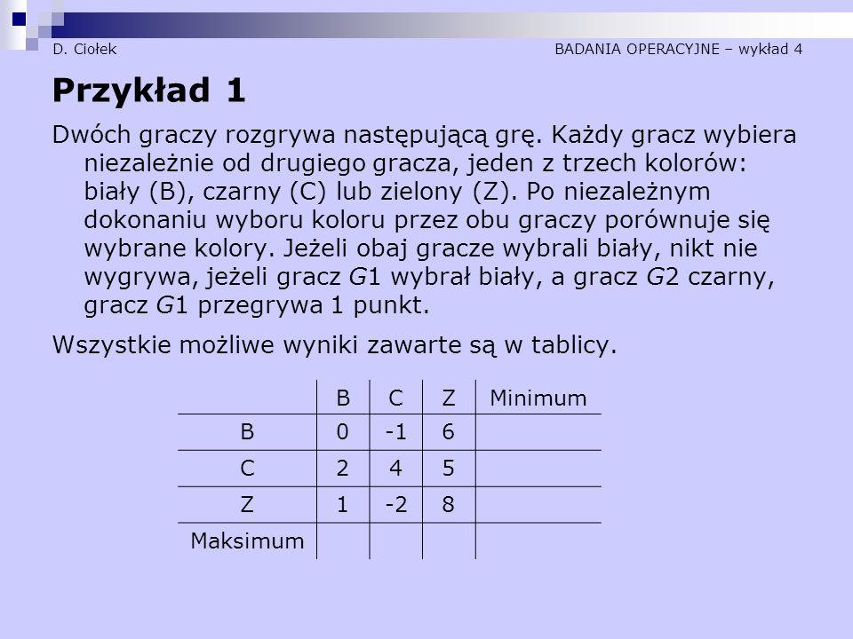 D. Ciołek BADANIA OPERACYJNE – wykład 4 Przykład 1 Dwóch graczy rozgrywa następującą grę. Każdy gracz wybiera niezależnie od drugiego gracza, jeden z