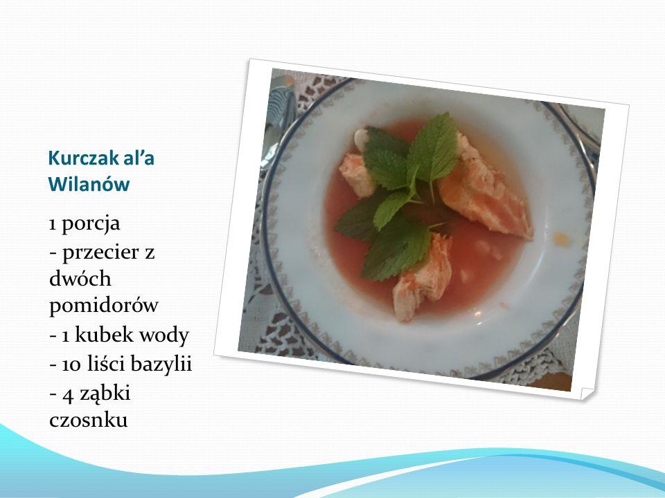 Kurczak al'a Wilanów 1 porcja - przecier z dwóch pomidorów - 1 kubek wody - 10 liści bazylii - 4 ząbki czosnku