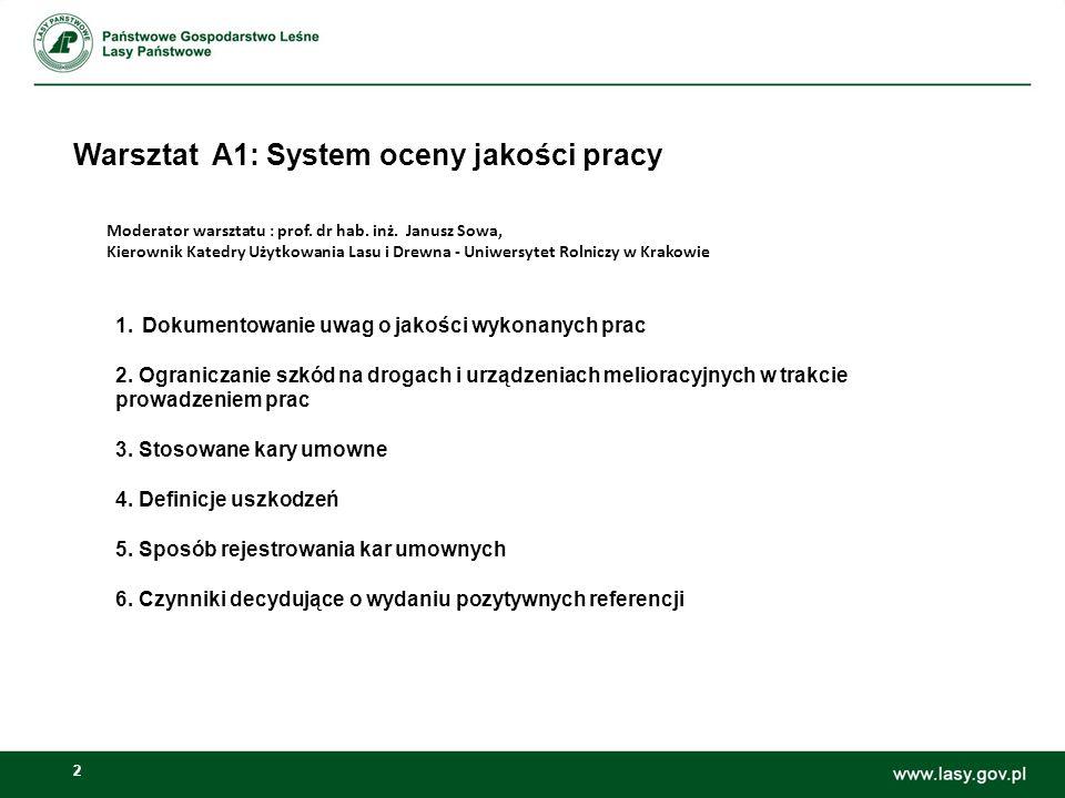 2 Warsztat A1: System oceny jakości pracy Moderator warsztatu : prof. dr hab. inż. Janusz Sowa, Kierownik Katedry Użytkowania Lasu i Drewna - Uniwersy
