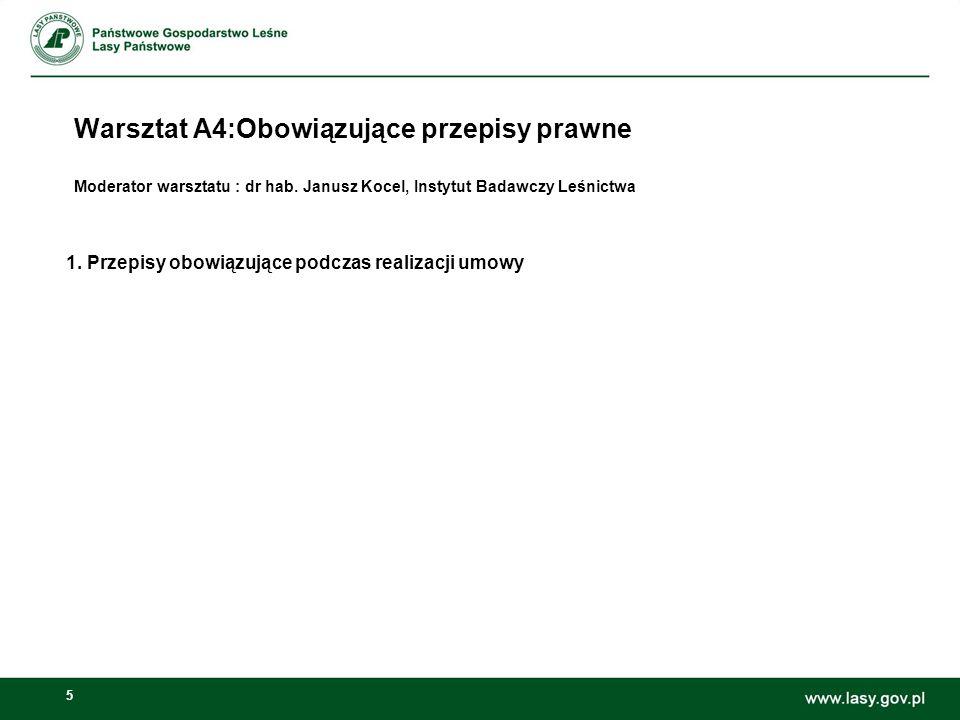 5 Warsztat A4:Obowiązujące przepisy prawne Moderator warsztatu : dr hab. Janusz Kocel, Instytut Badawczy Leśnictwa 1. Przepisy obowiązujące podczas re