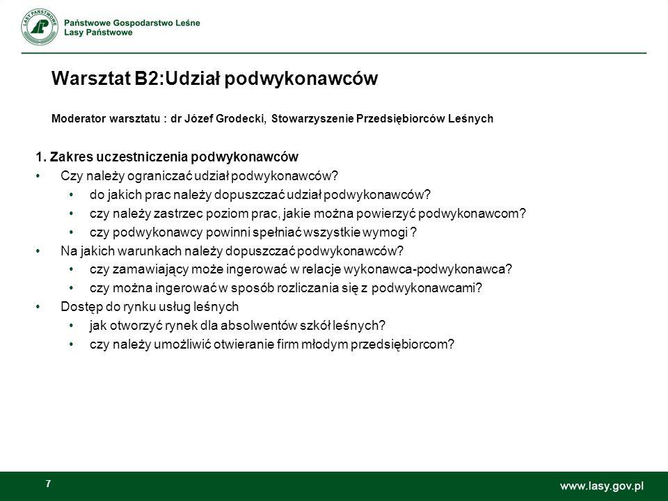 7 Warsztat B2:Udział podwykonawców Moderator warsztatu : dr Józef Grodecki, Stowarzyszenie Przedsiębiorców Leśnych 1.