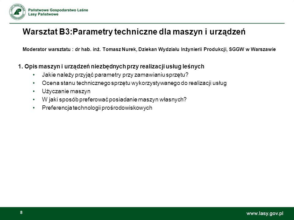 8 Warsztat B3:Parametry techniczne dla maszyn i urządzeń Moderator warsztatu : dr hab. inż. Tomasz Nurek, Dziekan Wydziału Inżynierii Produkcji, SGGW