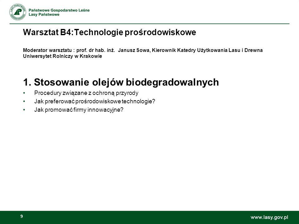 9 Warsztat B4:Technologie prośrodowiskowe Moderator warsztatu : prof. dr hab. inż. Janusz Sowa, Kierownik Katedry Użytkowania Lasu i Drewna Uniwersyte