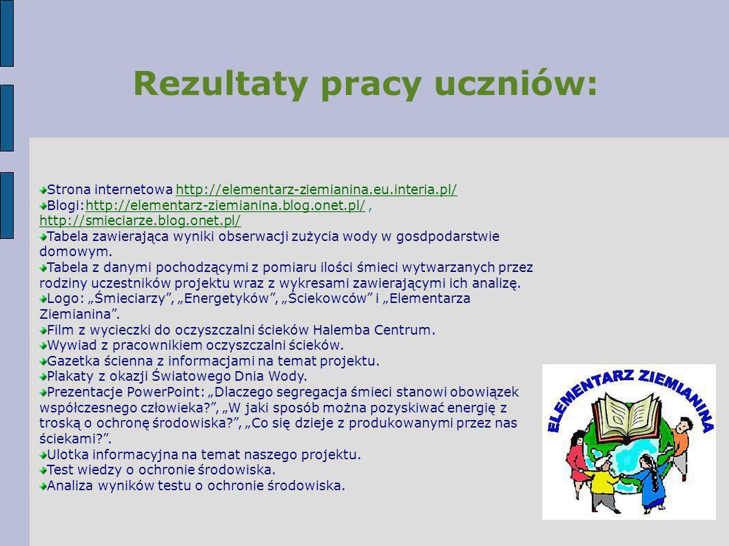 Rezultaty pracy uczniów: Strona internetowa http://elementarz-ziemianina.eu.interia.pl/http://elementarz-ziemianina.eu.interia.pl/ Blogi:http://elemen