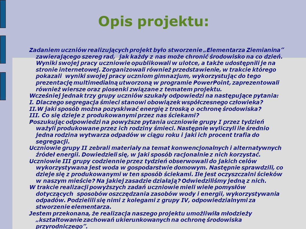 Rezultaty pracy uczniów: Prezentacja PowerPoint pt.