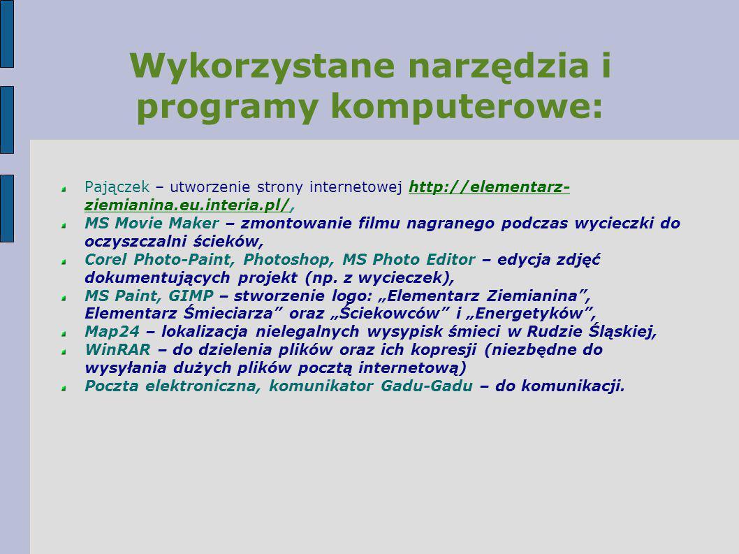 Wykorzystane narzędzia i programy komputerowe: Pajączek – utworzenie strony internetowej http://elementarz- ziemianina.eu.interia.pl/,http://elementar