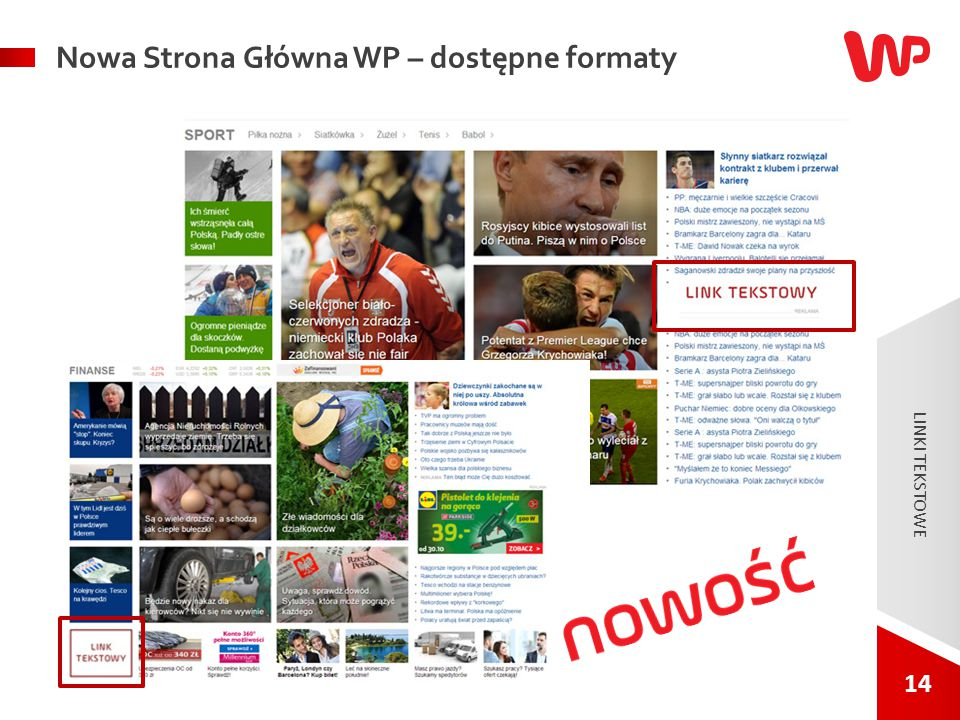 14 Nowa Strona Główna WP – dostępne formaty LINKI TEKSTOWE