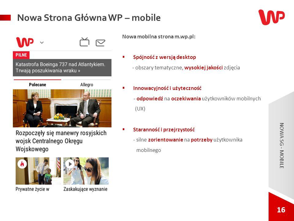 16 NOWA SG - MOBILE. Nowa mobilna strona m.wp.pl:  Spójność z wersją desktop - obszary tematyczne, wysokiej jakości zdjęcia  Innowacyjność i użytecz