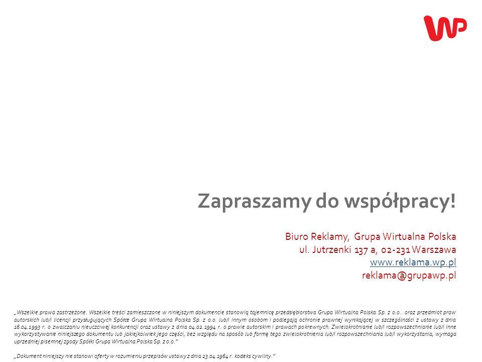 19 Zapraszamy do współpracy! Biuro Reklamy, Grupa Wirtualna Polska ul. Jutrzenki 137 a, 02-231 Warszawa www.reklama.wp.pl reklama@grupawp.pl www.rekla
