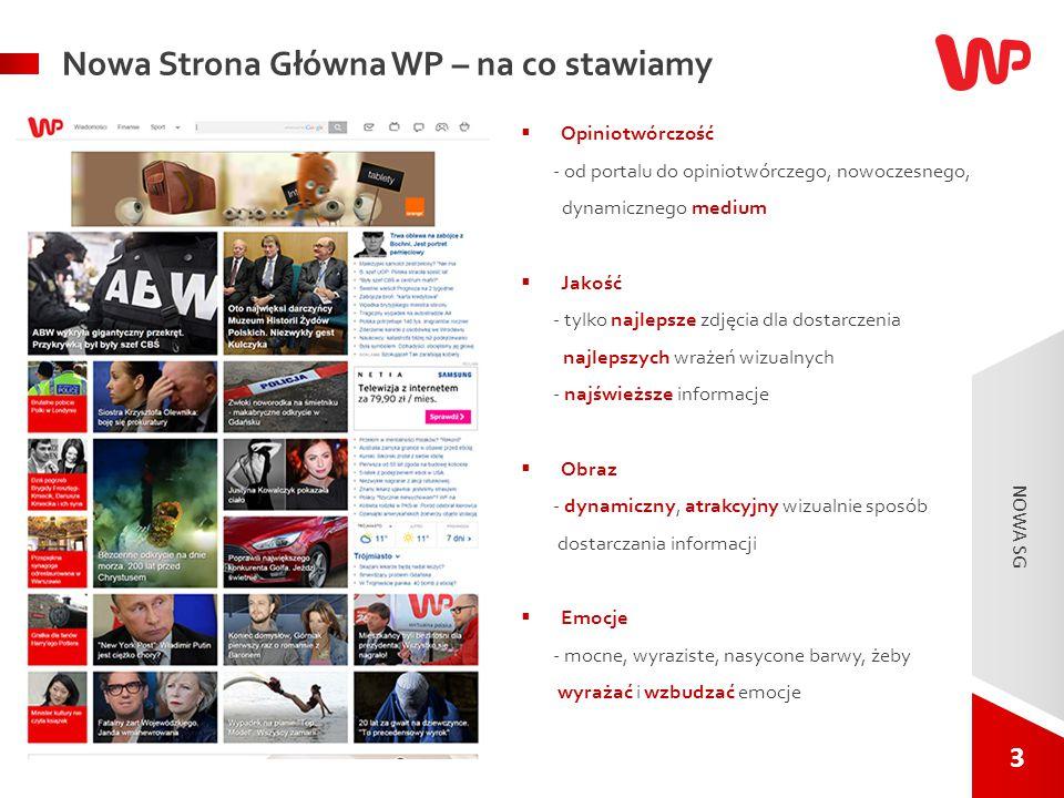 3 3 NOWA SG. Nowa Strona Główna WP – na co stawiamy  Opiniotwórczość - od portalu do opiniotwórczego, nowoczesnego, dynamicznego medium  Jakość - ty