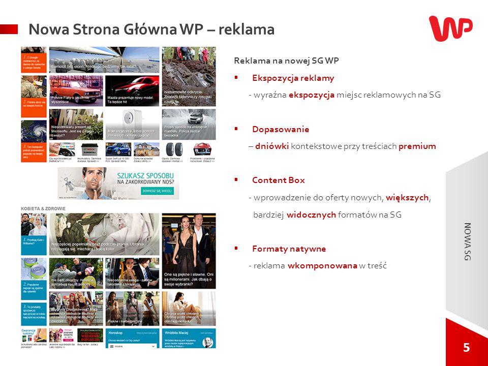 5 5 NOWA SG. Nowa Strona Główna WP – reklama Reklama na nowej SG WP  Ekspozycja reklamy - wyraźna ekspozycja miejsc reklamowych na SG  Dopasowanie –