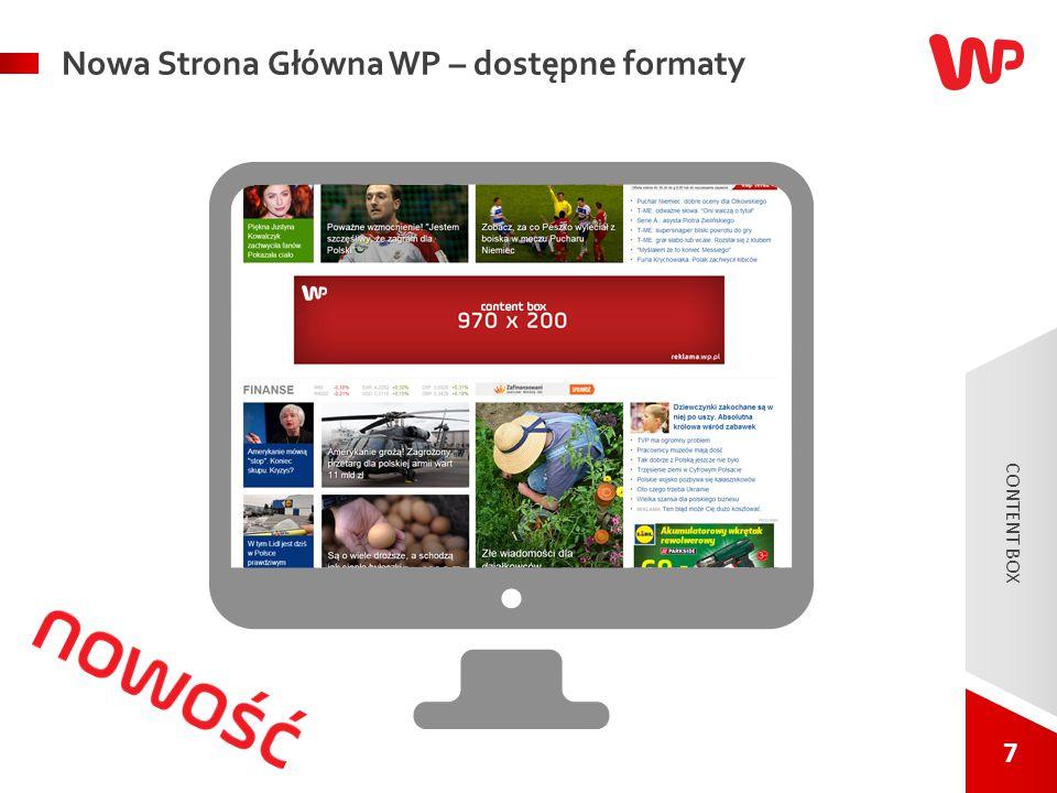 7 7 Nowa Strona Główna WP – dostępne formaty CONTENT BOX