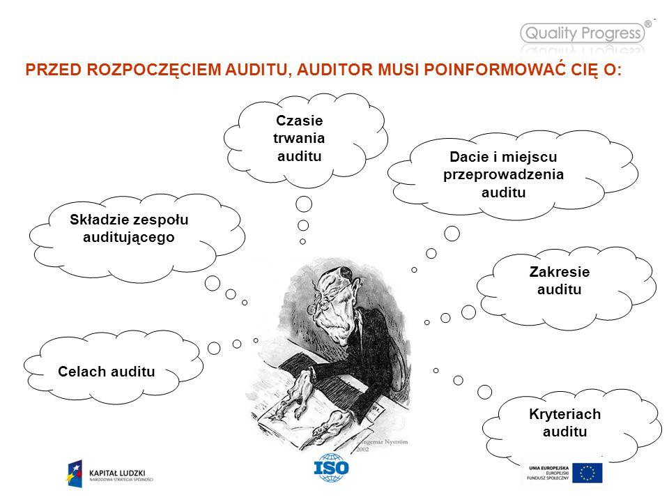 PRZED ROZPOCZĘCIEM AUDITU, AUDITOR MUSI POINFORMOWAĆ CIĘ O: Dacie i miejscu przeprowadzenia auditu Zakresie auditu Czasie trwania auditu Składzie zespołu auditującego Celach auditu Kryteriach auditu