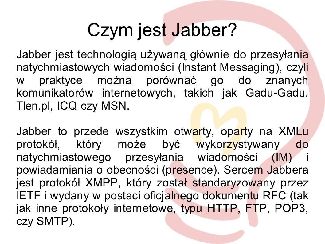 Bajery Mapa użytkowników Jabbera Jogger – blog wprost z komunikatora Pogoda w liście kontaktów Słowniki Wikipedia Rozkłady jazdy Program TV...i wiele wiele innych ;-)