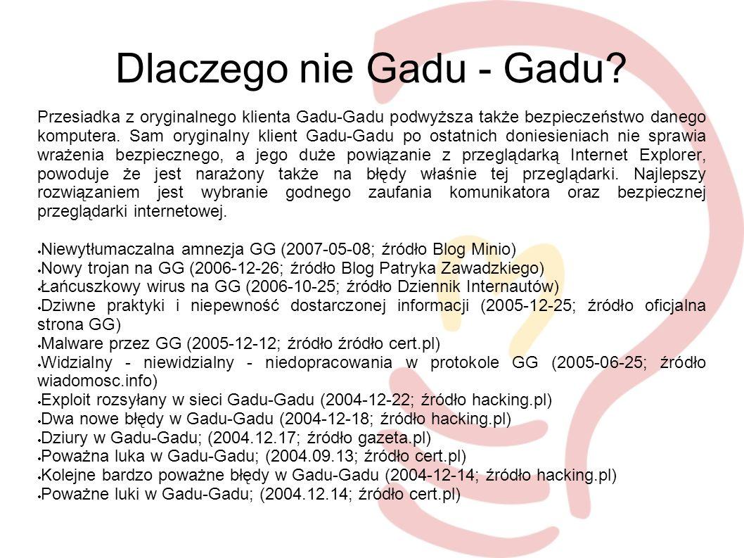 Linki http://pl.wikipedia.org/wiki/XMPP http://pl.wikipedia.org/wiki/Jabber http://www.jabberpl.org/ http://forum.jabberpl.org/ http://jabberfaq.info/ http://www.jabber.org/ http://jogger.pl/ http://jabber.wiadomosc.info/