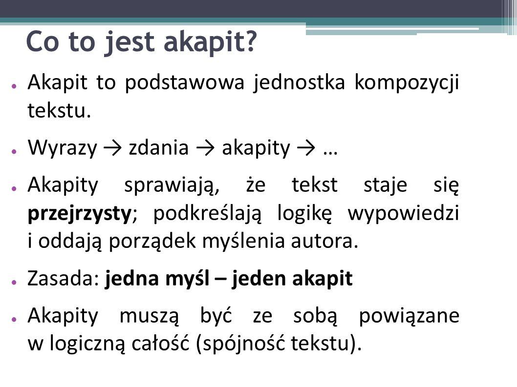 Co to jest akapit? ● Akapit to podstawowa jednostka kompozycji tekstu. ● Wyrazy → zdania → akapity → … ● Akapity sprawiają, że tekst staje się przejrz