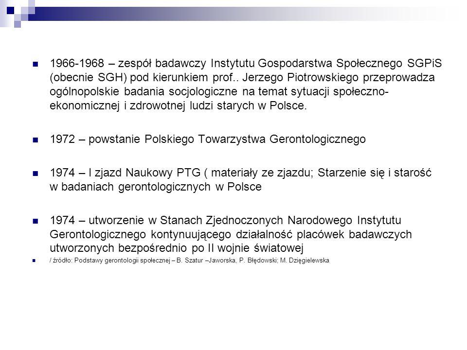 1966-1968 – zespół badawczy Instytutu Gospodarstwa Społecznego SGPiS (obecnie SGH) pod kierunkiem prof.. Jerzego Piotrowskiego przeprowadza ogólnopols